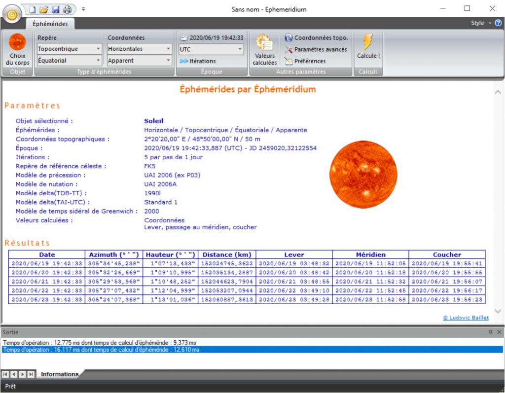 Logiciel Éphéméridium - calculs pour juin 2020